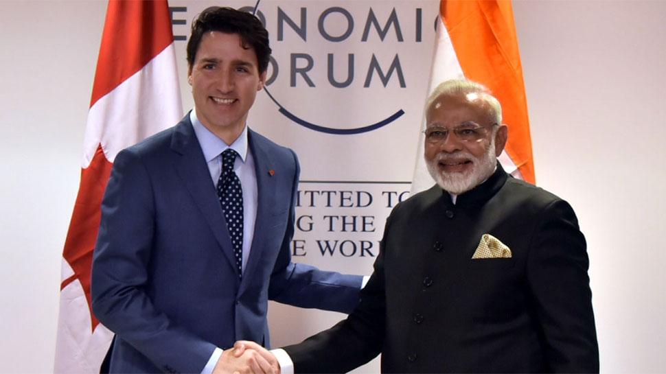Prime Minister, Narendra Modi alongside Canada Prime Minister, Justin Trudeau at the World Economic Forum.