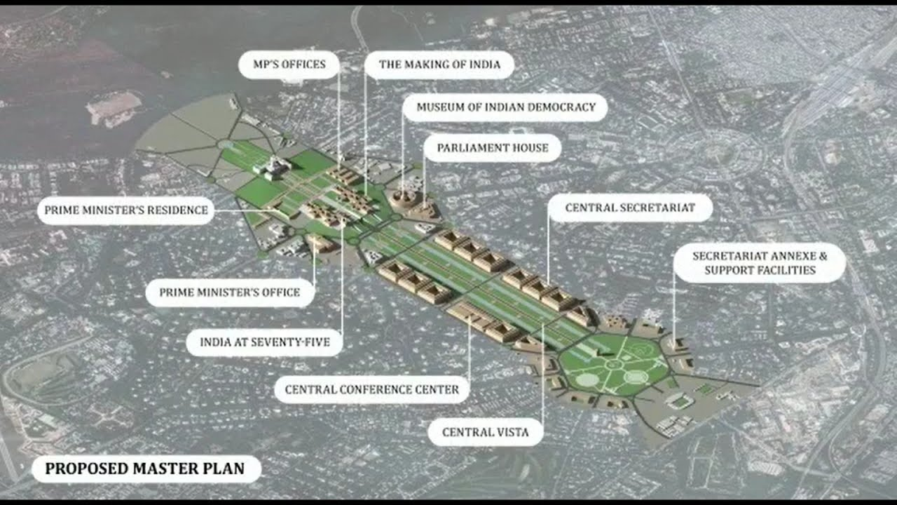 Proposed master plan for revamp of Central Vista Project at Lutyens, Delhi.