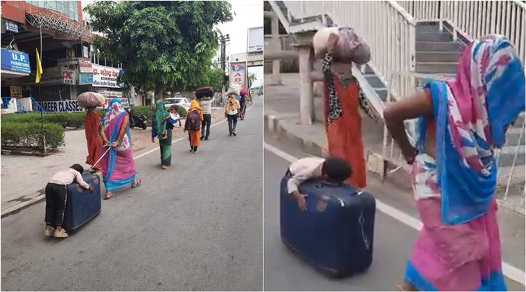 NHRC takes congnizance of reports of a mother pulling a suitcase with her small child hung over it.