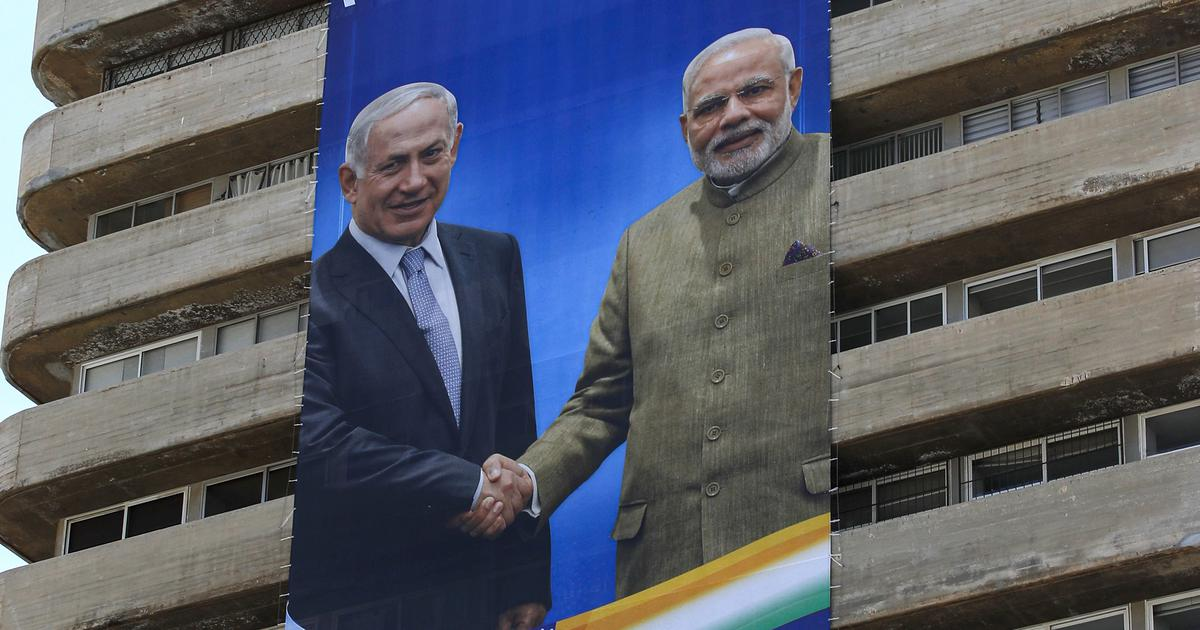 Israeli Prime Minister Benjamin Netanyahu's Party displayed banners of PM Benjamin with PM Modi in Tel Aviv, Israel