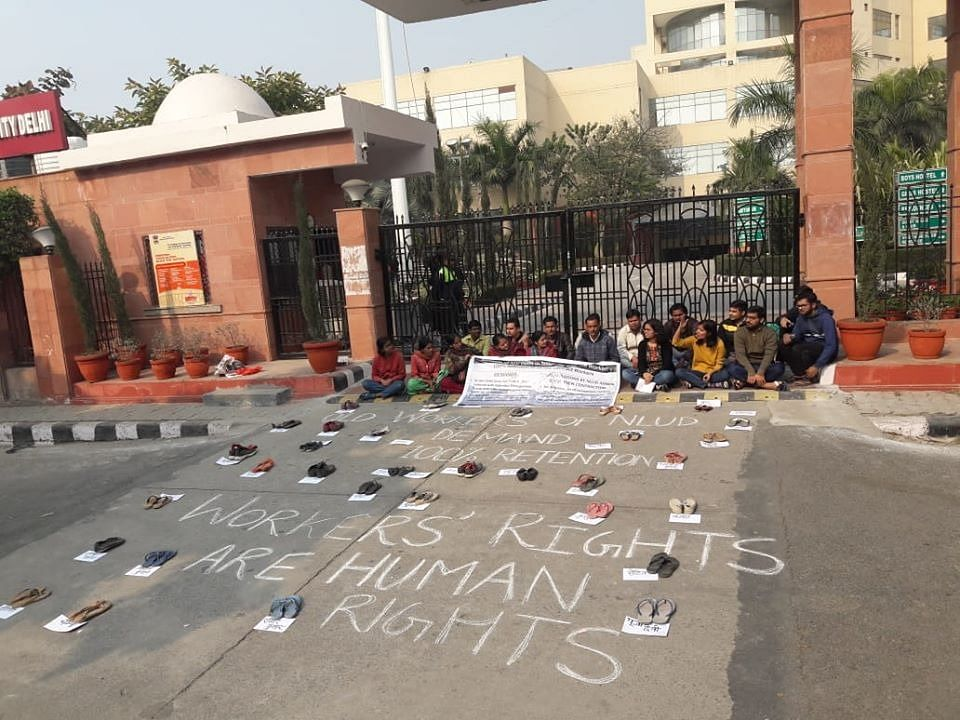 The students of NLU Delhi started their protest in January 2020 against wrongful termination of 55 workers.